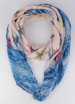 Итальянский шарф girandola 0001-60 пудровый со звездами, коттон 80%, шелк 20%