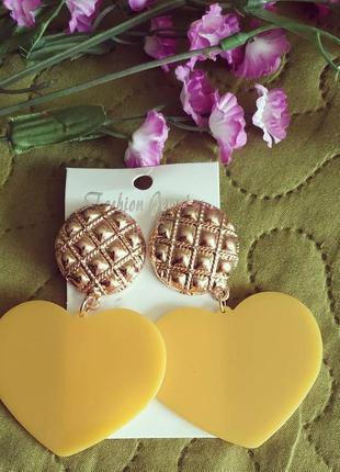 Серьги в стиле zara зара сережки желтые