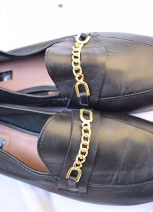 Стильные кожаные туфли лоферы слипоны балетки topshop р.412 фото