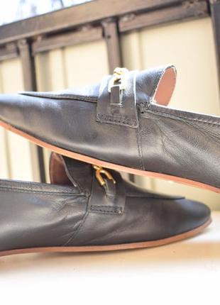 Стильные кожаные туфли лоферы слипоны балетки topshop р.414 фото