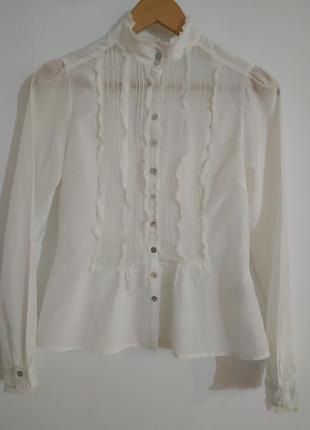 Белая блуза шелк и вискоза