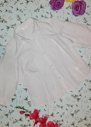 Акция 1+1=3 стильная базовая белая блуза в горошек marks&spencer, размер 52