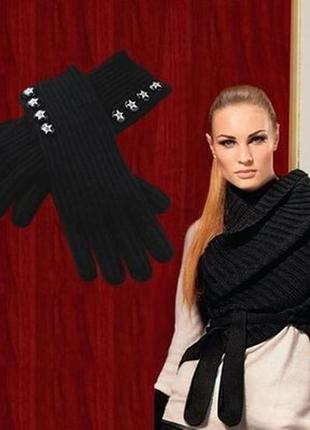 Удлиненные черные перчатки
