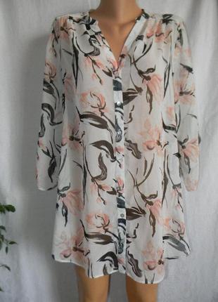 Шифоновая блуза с нежным принтом