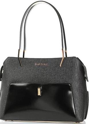 Черная сумка baldinini с внешним карманом из глянцевой кожи, упаковка чек ярлык