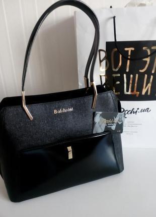 Черная сумка baldinini с внешним карманом из глянцевой кожи, упаковка чек ярлык4 фото