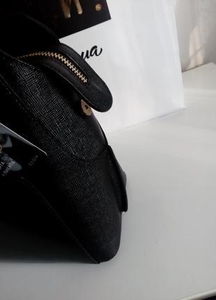 Черная сумка baldinini с внешним карманом из глянцевой кожи, упаковка чек ярлык8 фото