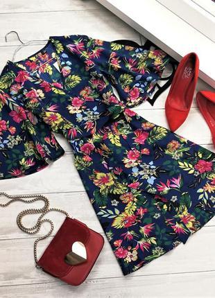 Цветочное платье-кимоно с пояском 174021 missguided размер uk8/36 (s)