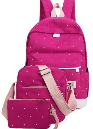 Рюкзак розовый однотонный в белый мелкий горошек jingpin
