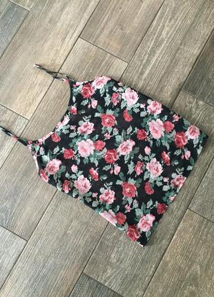 Шифоновая блуза в цвети, цветы, блуза майка, в цветочний принт, в квіти.