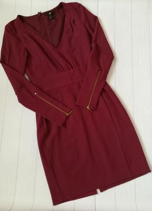 Платье бордового цвета , марсала от h&m