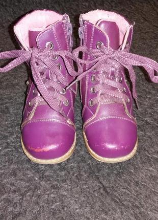 Демисезонные кожаные ортопедические ботинки шалунишка р-р 25, стелька-16 см