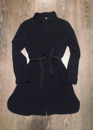 Черное платье рубашка с поясом