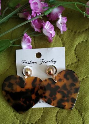 Серьги сердца тигровый принт сережки