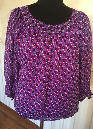 Шифоновая блуза на трикотажной основе, размер м, наш 50-52.