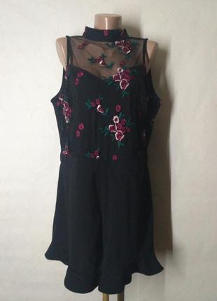 Комбинезон ромпер черный с шортами и вышивкой сеткой