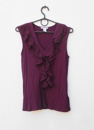 Трикотажная нарядная блузка без рукавов из вискозы с рюшами