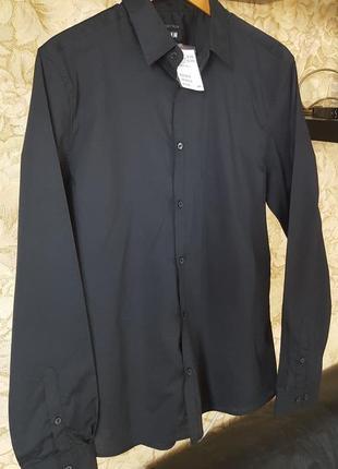 Черная стильная молодежная рубашка h&m