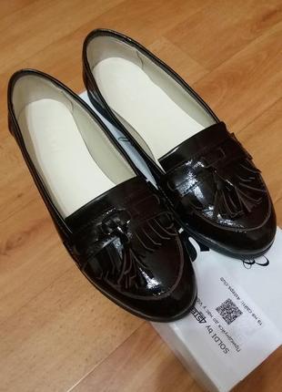 Лоферы из натуральной лаковой кожи р.38, туфли soldi
