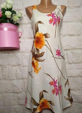 Платье миди льняное р 12