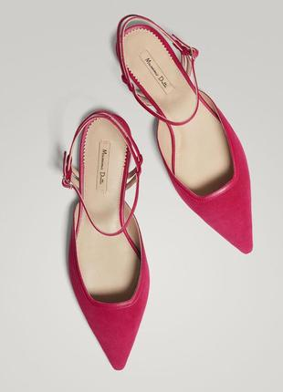 Замшевые босоножки,туфли с открытой пяткой massimo dutti