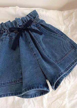 Джинсовые шорты с пояском1 фото