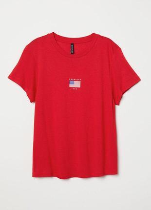 Красная футболка блуза с принтом h&m