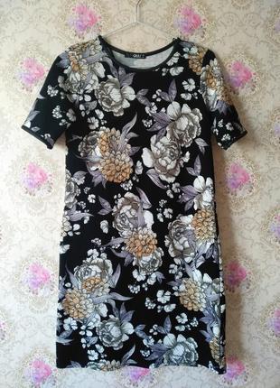 Платье миди в крупные цветы