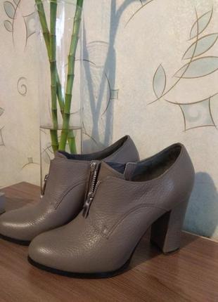 Ботильоны демисезон/закрытые туфли серые кожаные 37 размер