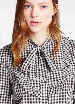 Блуза блузка рубашка в мелкую клетку клеточку с рюшами завязкой