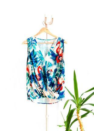 Sale! блуза футболка на запах amisu в принт фламинго