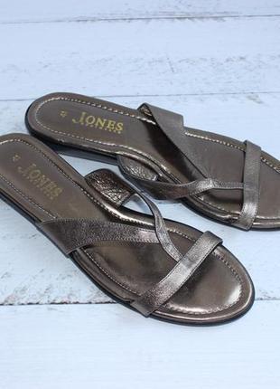 41 26,5см jones кожаные шлепки бронзового цвета шлепанцы вьетнамки