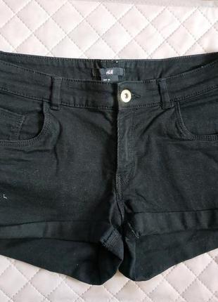 Черные джинсовые мини шорты