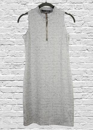 Серое платье рубчик, короткое платье серое, весеннее платье приталенное