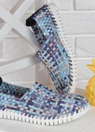 Мокасины blue paradise турция женские плетенные прошитые текстильные голубые2 фото