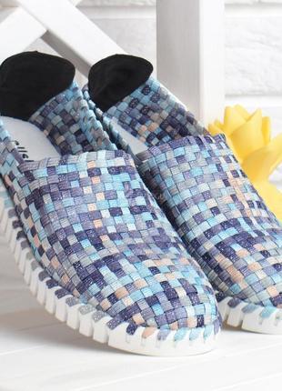 Мокасины blue paradise турция женские плетенные прошитые текстильные голубые