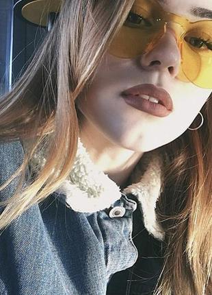 Модные женские желтые очки без оправы мода 2019 прозрачные цветные