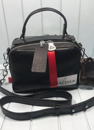 Женская кожаная сумка malinus  черная красная белая жіноча шкіряна сумка чорна