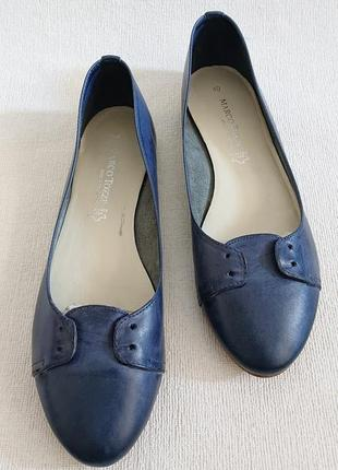 Женские кожаные туфли балетки marco tozzi, 40-40.5р, кожа