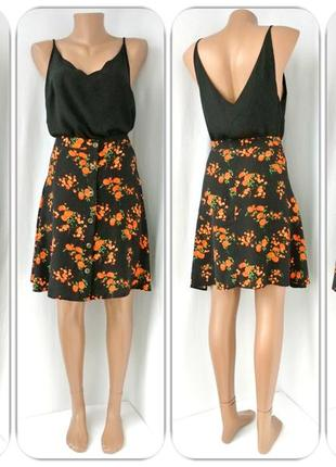 Новая красивая юбка на пуговицах george с цветами. размер uk18/eur46.