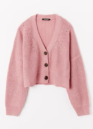 Классный весенний укороченный свитер кардиган свободного кроя