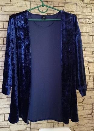 Трендовый синий жакет-кимоно,велюр-муар