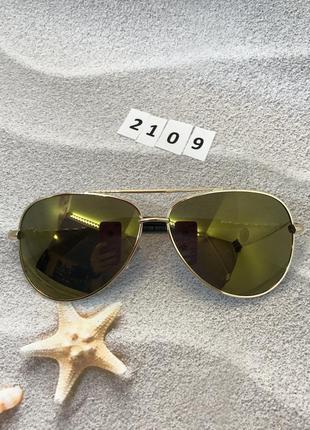 Солнцезащитные очки авиаторы с желто-коричневыми линзами к. 2109