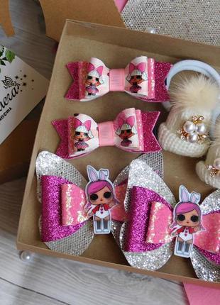 Набор детских украшений для волос с lol, цвет малиновый