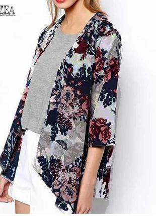 Накидка/блуза/летний пиджак/цветочный принт