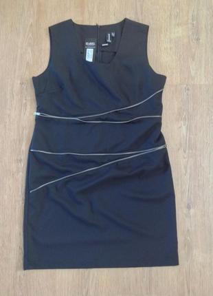 Распродажа!!!новое с биркой платье сарафан для офиса работы с декоративными молниями  размер 16