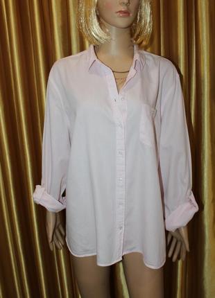 Натуральная рубашка в  мелкую полоску