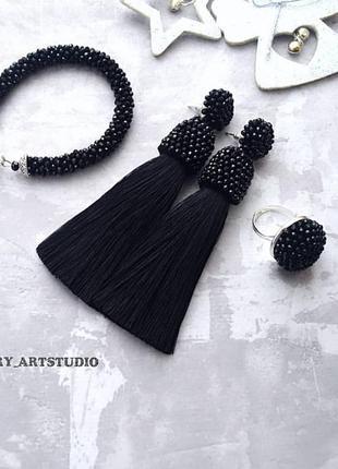 Комплект украшений, браслет, серьги можно на клипсах и кольцо из хрусталя
