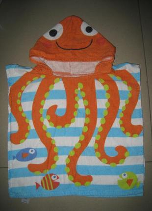 Детское банное, пляжное полотенце - пончо на 1-4 лет