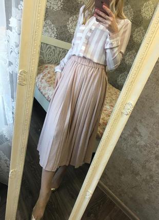 Плиссированная юбка пудра